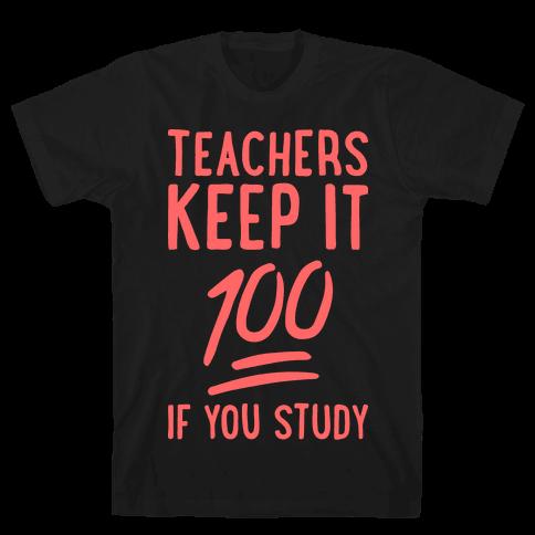 Teachers Keep It 100 (Red) Mens T-Shirt