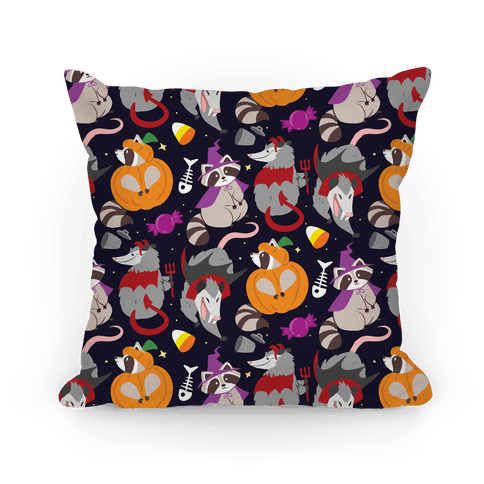 Trashy Animals Halloween Pattern Pillow