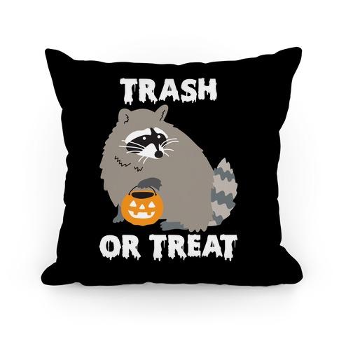 Trash Or Treat Raccoon Pillow