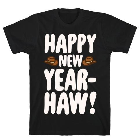 Happy New Year-Haw White Print T-Shirt