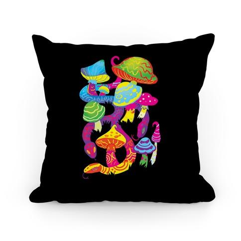 Psychadellic Snake Among Mushrooms Pillow