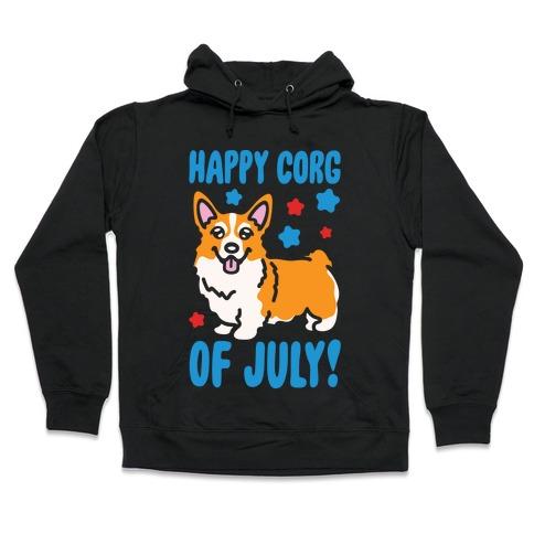 Happy Corg Of July Parody White Print Hooded Sweatshirt