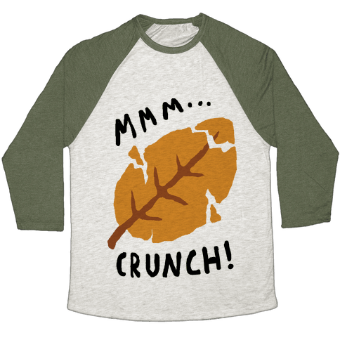 Mmm Crunch Fall Leaf Baseball Tee