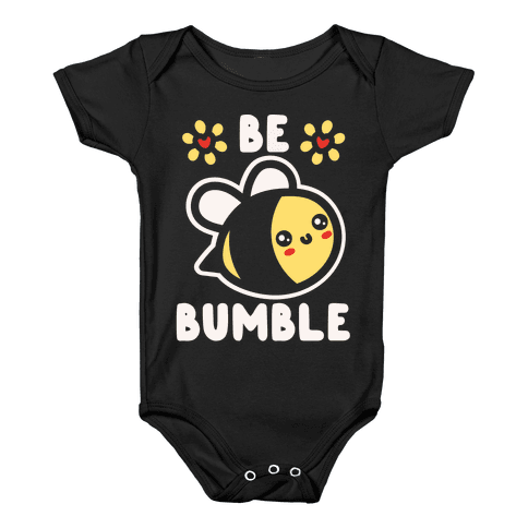 Be Bumble White Print Baby Onesy