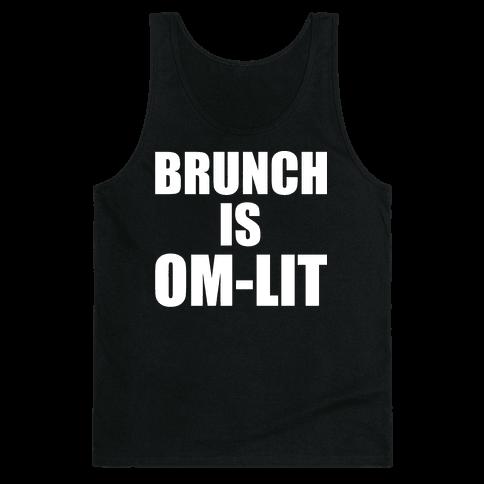 Brunch Is Om-Lit White Print Tank Top
