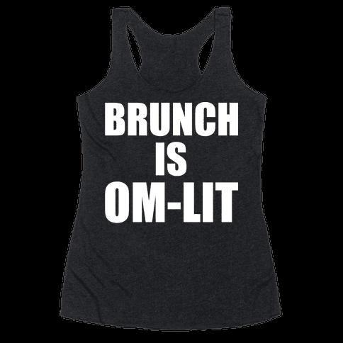 Brunch Is Om-Lit White Print Racerback Tank Top