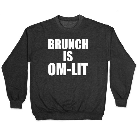Brunch Is Om-Lit White Print Pullover