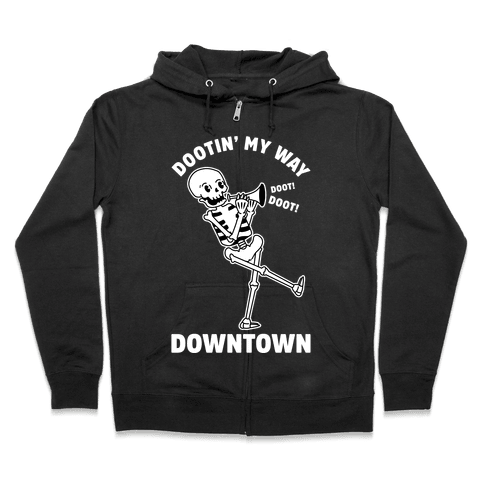 Dootn' My Way Down Town White Zip Hoodie