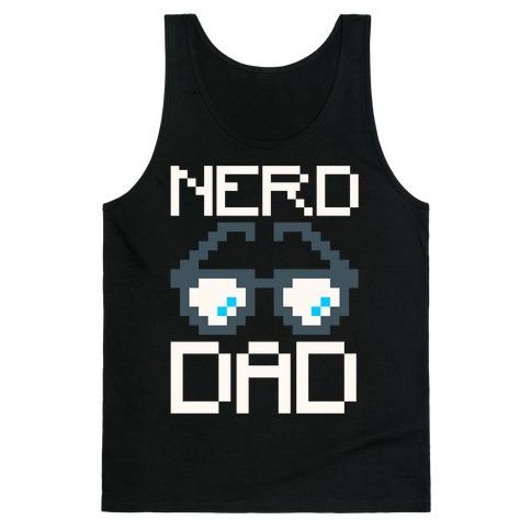 Nerd Dad White Print Tank Top