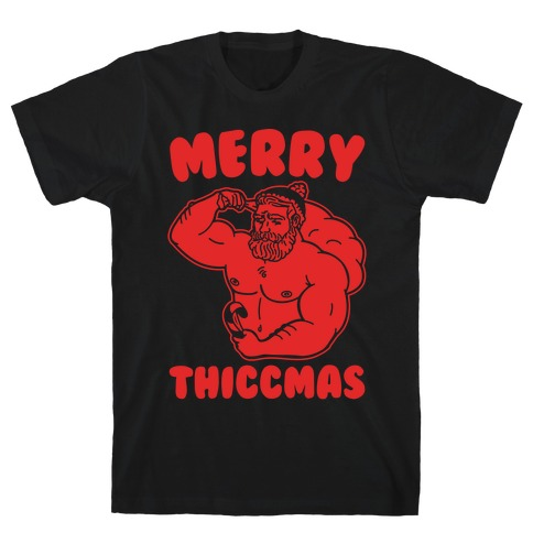 Merry Thiccmas Parody White PRint T-Shirt
