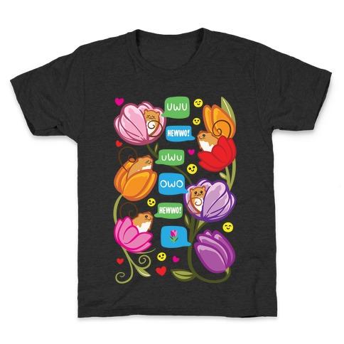 Harvest Mice Emoji Floral Pattern White Print Kids T-Shirt