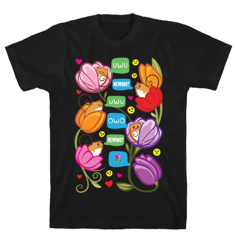 Harvest Mice Emoji Floral Pattern White Print T-Shirt