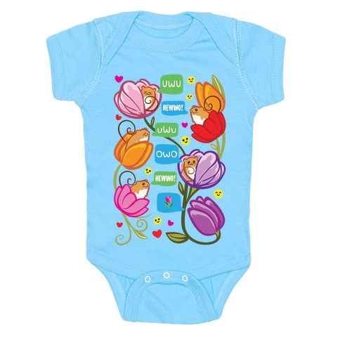Harvest Mice Emoji Floral Pattern White Print Baby Onesy