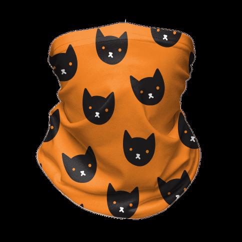 Black Cat Face Pattern Neck Gaiter