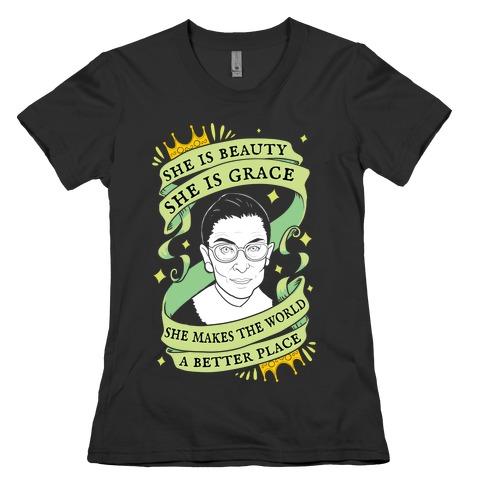 She Is Beauty, She is Grace RBG Womens T-Shirt