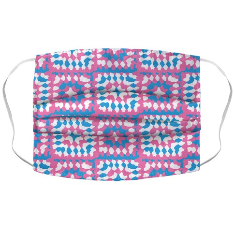 Granny Squares Pattern (Trans Pride) Accordion Face Mask