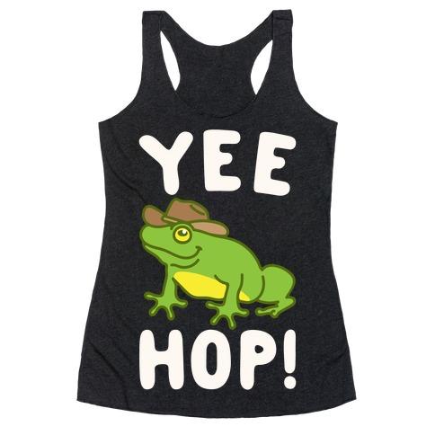 Yee Hop White Print Racerback Tank Top