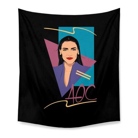 80s Style AOC Alexandria Ocasi-Cortez Parody Tapestry