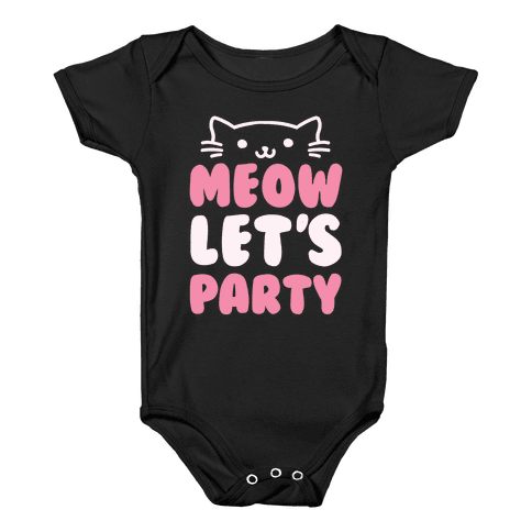 Meow Let's Party Baby Onesy
