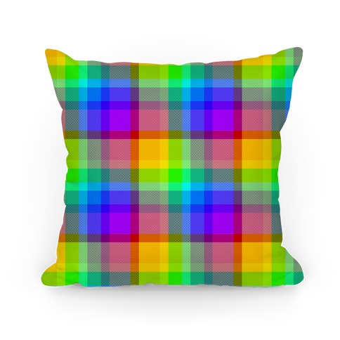 Rainbow Plaid Pillow