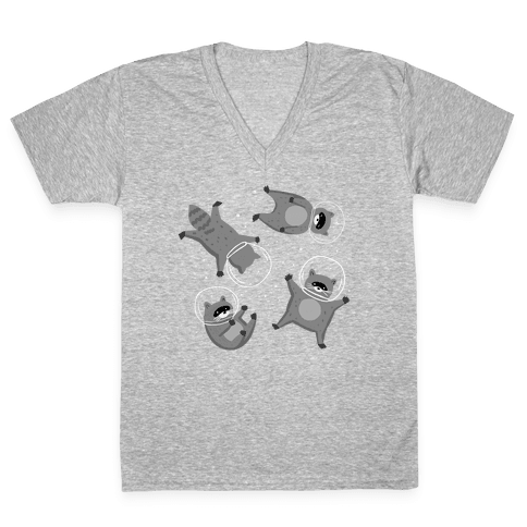 Raccoons In Space V-Neck Tee Shirt