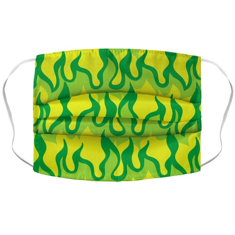Green Flames Accordion Face Mask