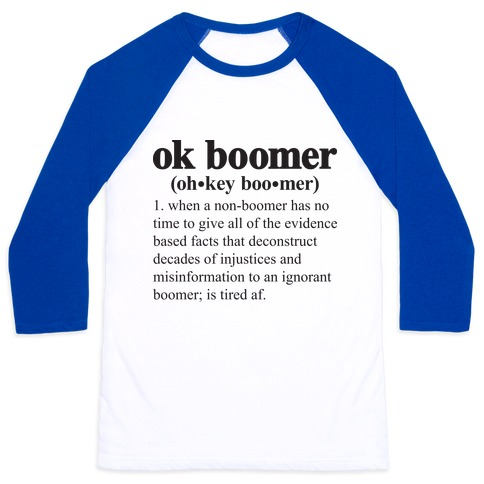 Ok Boomer Definition Baseball Tee