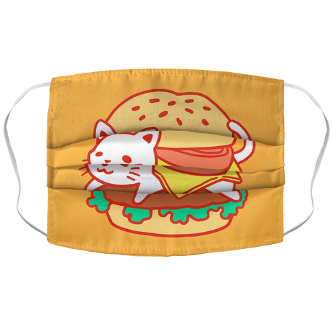 Burger Cat Face Mask Cover