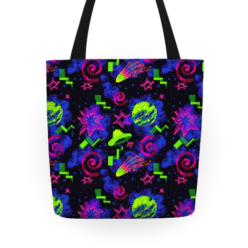 Faux Retro Arcade Carpet Pattern Tote