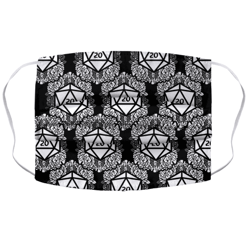 Floral D20 Pattern Face Mask Cover