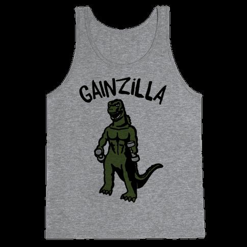 Gainzilla Lifting Parody Tank Top