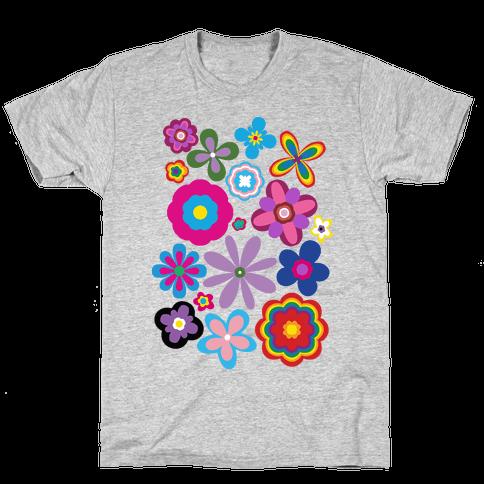 Hippie Pride Flower Pattern Mens/Unisex T-Shirt