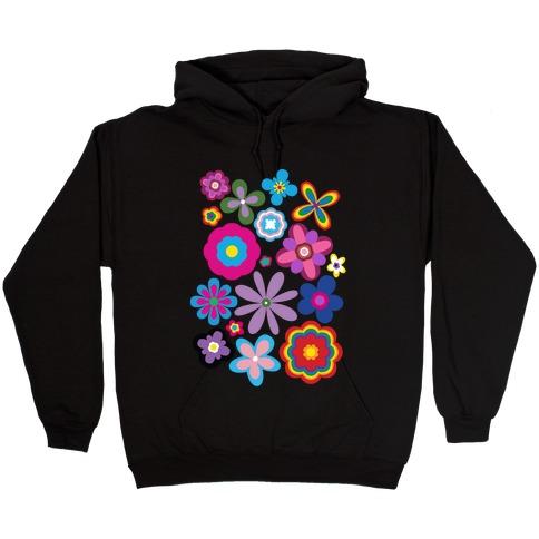 Hippie Pride Flower Pattern Hooded Sweatshirt