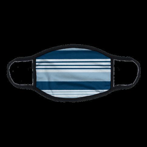 Navy Blue Horizontal Stripes Flat Face Mask