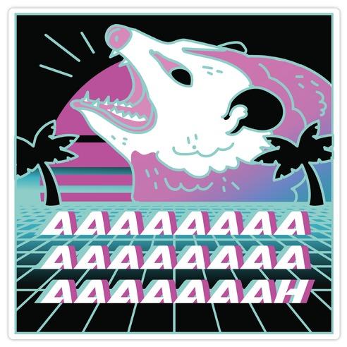 Screaming Retrowave Possum Die Cut Sticker