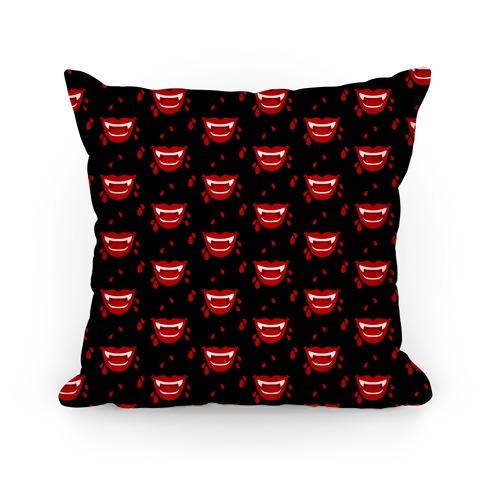 Red Vampire Lips Pattern Pillow