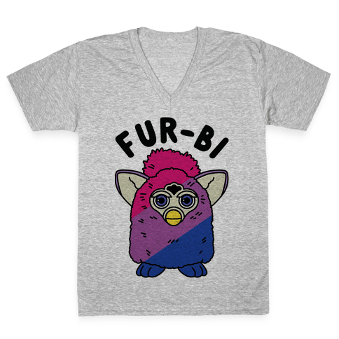 Fur-bi Bisexual Furby V-Neck Tee Shirt