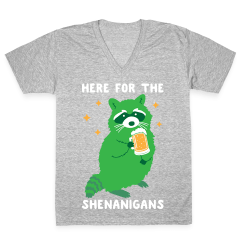 Here For The Shenanigans  V-Neck Tee Shirt