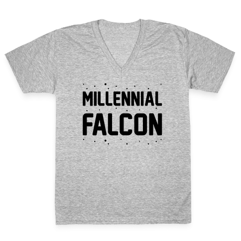Millennial Falcon Parody V-Neck Tee Shirt