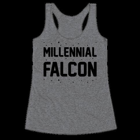 Millennial Falcon Parody Racerback Tank Top