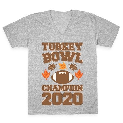 Turkey Bowl Champion 2020 White Print V-Neck Tee Shirt