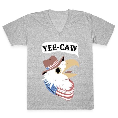 YEE-CAW American Bald Eagle V-Neck Tee Shirt