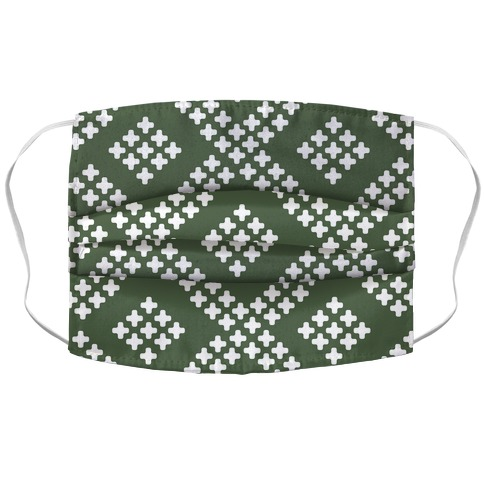 Little Cross Pattern Chive Green Accordion Face Mask