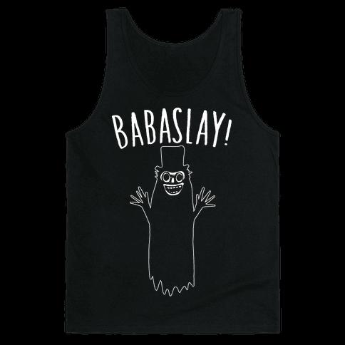 Babaslay Parody White Print Tank Top