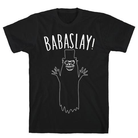 Babaslay Parody White Print T-Shirt