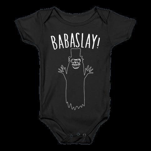 Babaslay Parody White Print Baby Onesy