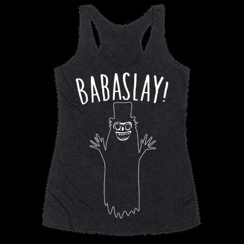 Babaslay Parody White Print Racerback Tank Top
