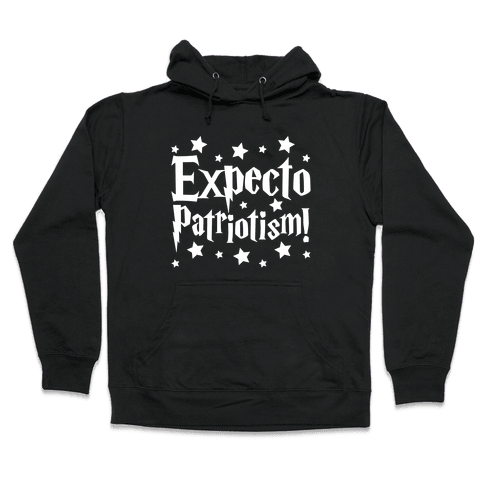 Expecto Patriotism Parody White Print Hooded Sweatshirt