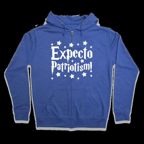 Expecto Patriotism Parody White Print Zip Hoodie