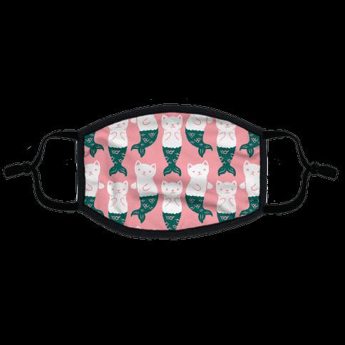Cat Mermaid Pattern Pink Flat Face Mask